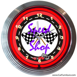 Speed Shop Red Neon Clock