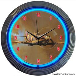 Spit Fire WW2 Plane Blue Neon Clock