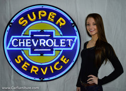 "Chevrolet Super Service Large 36"" Neon Sign in Steel Can"