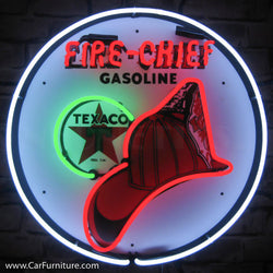 Texaco Fire-Chief Gasoline Neon Sign with Backing