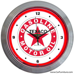 Texaco Motor Oil Red Neon Clock