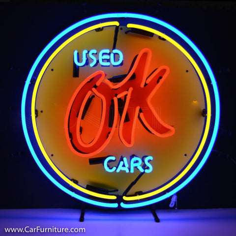 Mini Chevy OK Car Parts Yellow Neon Sign