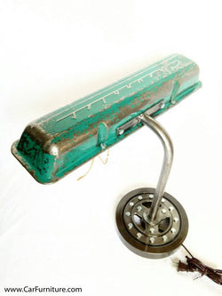Vintage Green-Blue Patina Chevy Valve Cover Desk Lamp