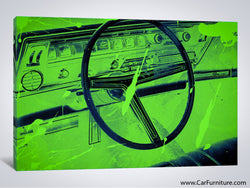 Vintage Green Car Interior Paint Splatter Canvas Art