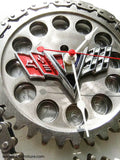 Vintage Chevrolet Flags Engine Timing Gear Wall Clock