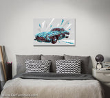 Vintage Gullwings Geometric Car Canvas Art