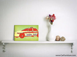 Vintage Police Car Distressed Canvas Art