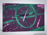 Vintage Purple Car Interior Paint Splatter Canvas Art