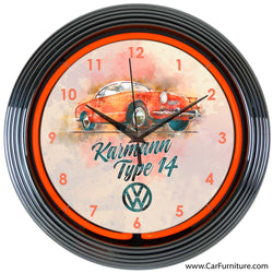 Volkswagen Karmann Red Neon Clock