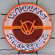 Willy's Sales Service Jeep Neon Sign
