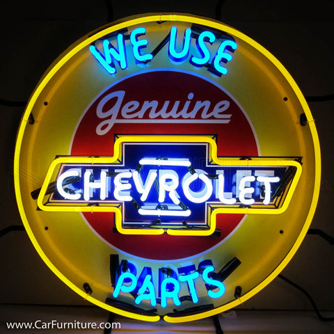 Genuine Chevrolet Parts Yellow Neon Sign with Backing