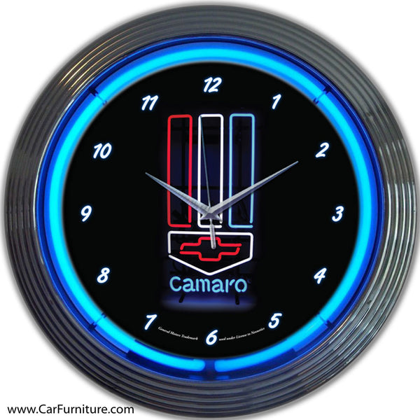 Camaro Neon Clock (Red, white & blue)