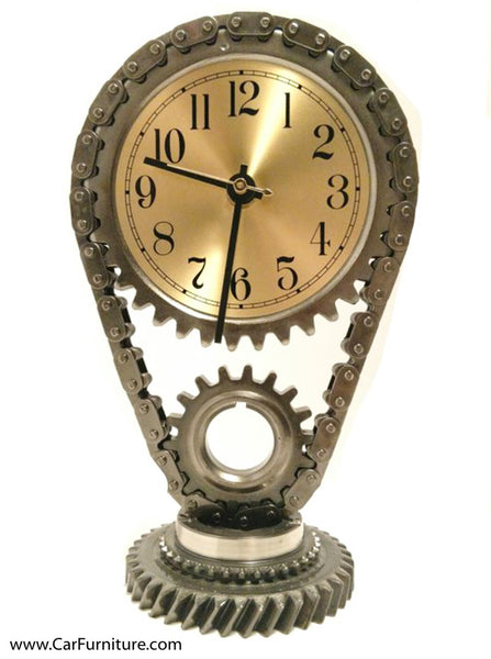 Steel Hand-Crafted Gear Desk Clock