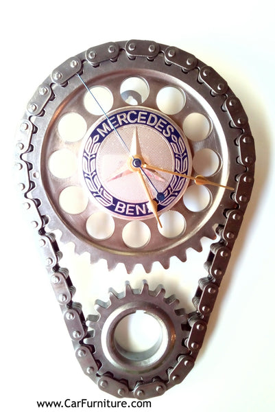 Mercedes-Benz-Logo-Engine-Timing-Gear-and-Chain-Wall-Clock-www.CarFurniture.com