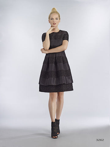 Bigio Black Short Sleeve Cocktail Dress