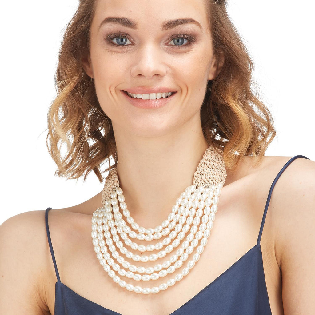 Multi Row Faux Pearl Necklace
