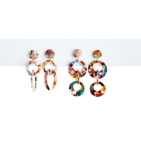 Multi Colored Tortoise Hoop Earrings