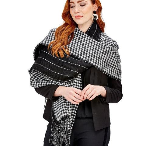 Black & White Reversible Houndstooth Shawl