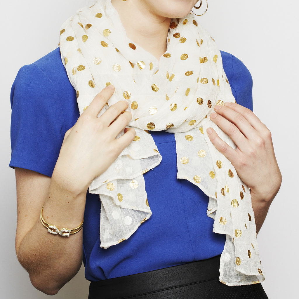 Dots to Love Gold Dots Scarf