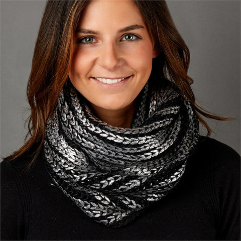 Black Knit Infinity Scarf w/Metallic Accent