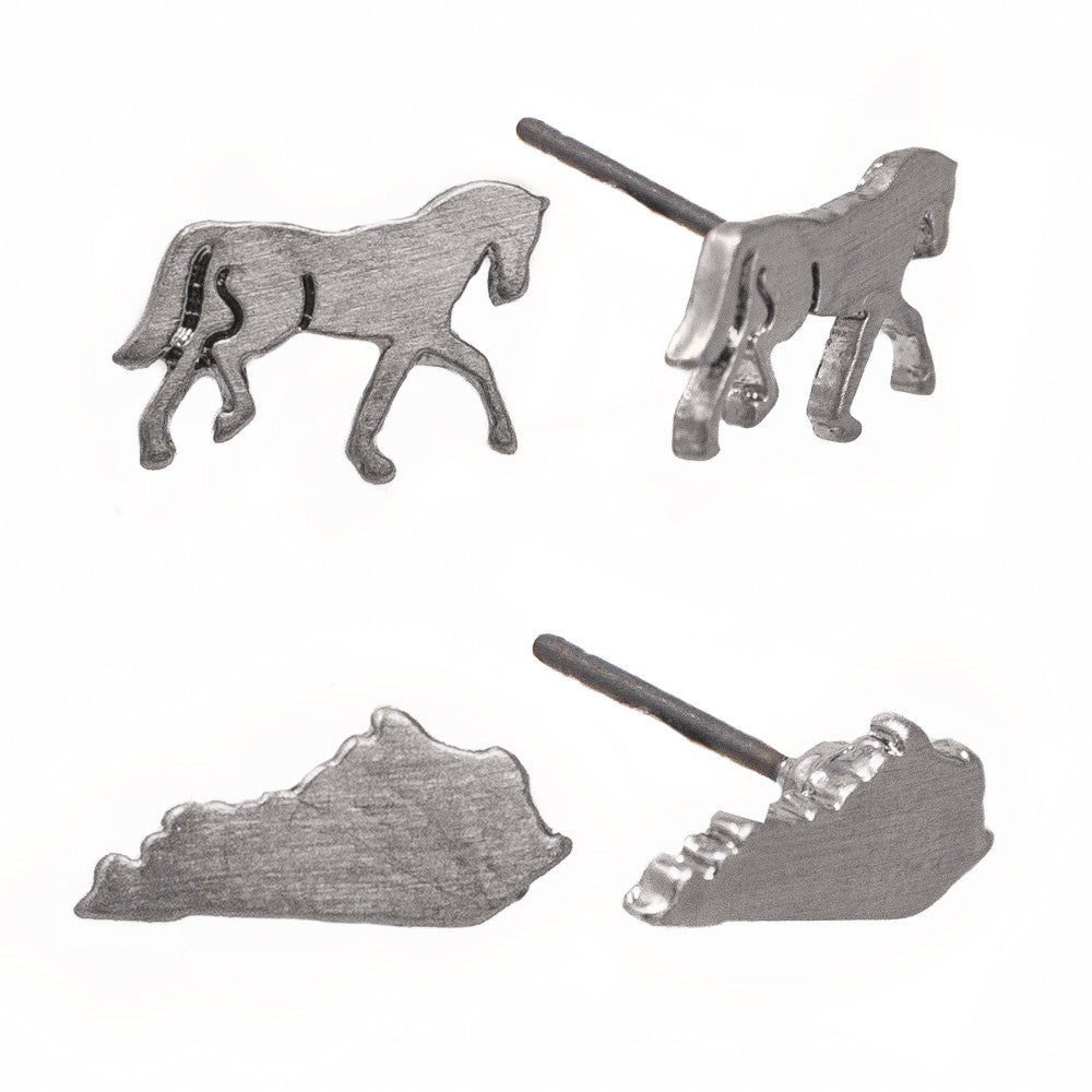 Silver Metal Stud Earrings-KY & Horses