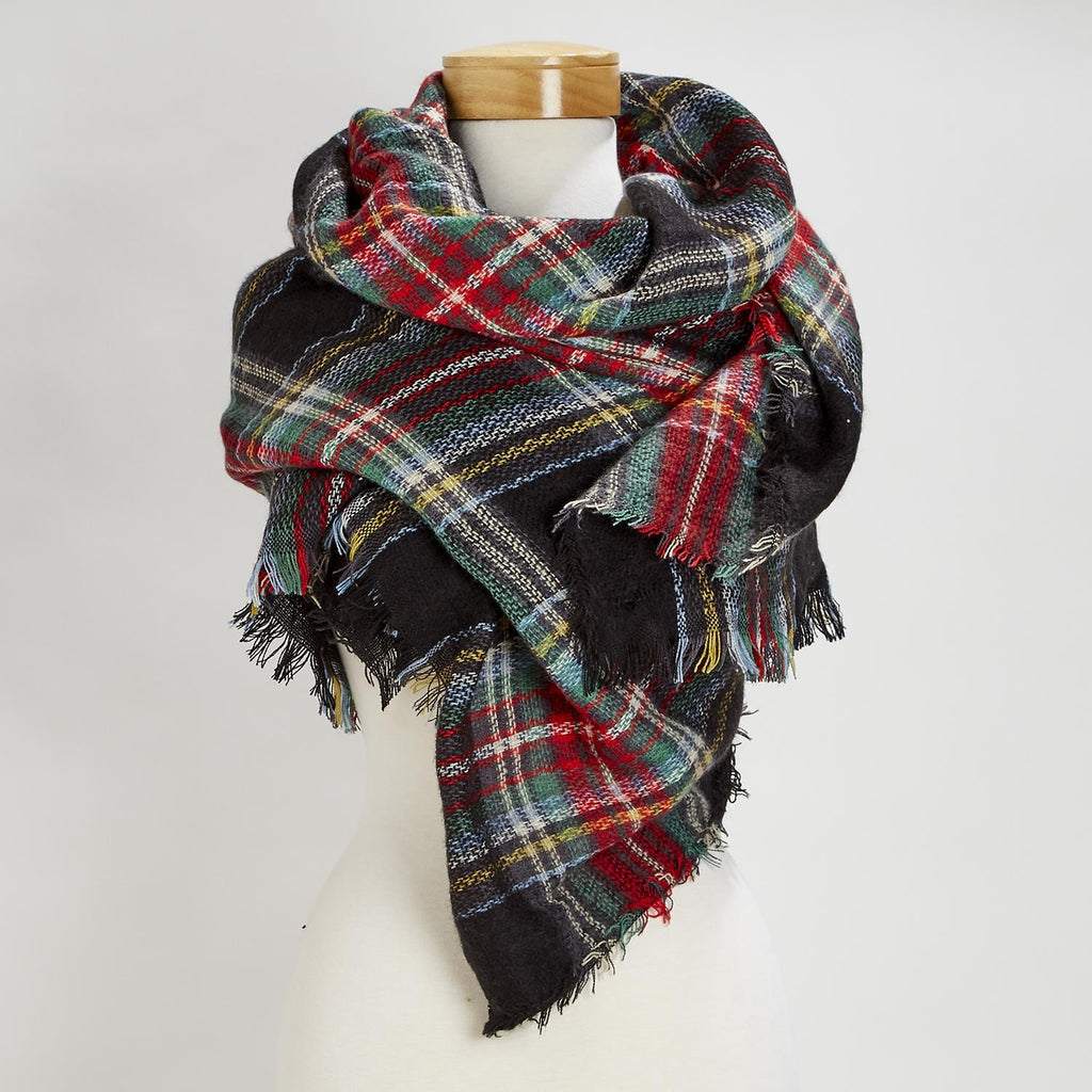 Plaid Blanket Scarf w/Fringe