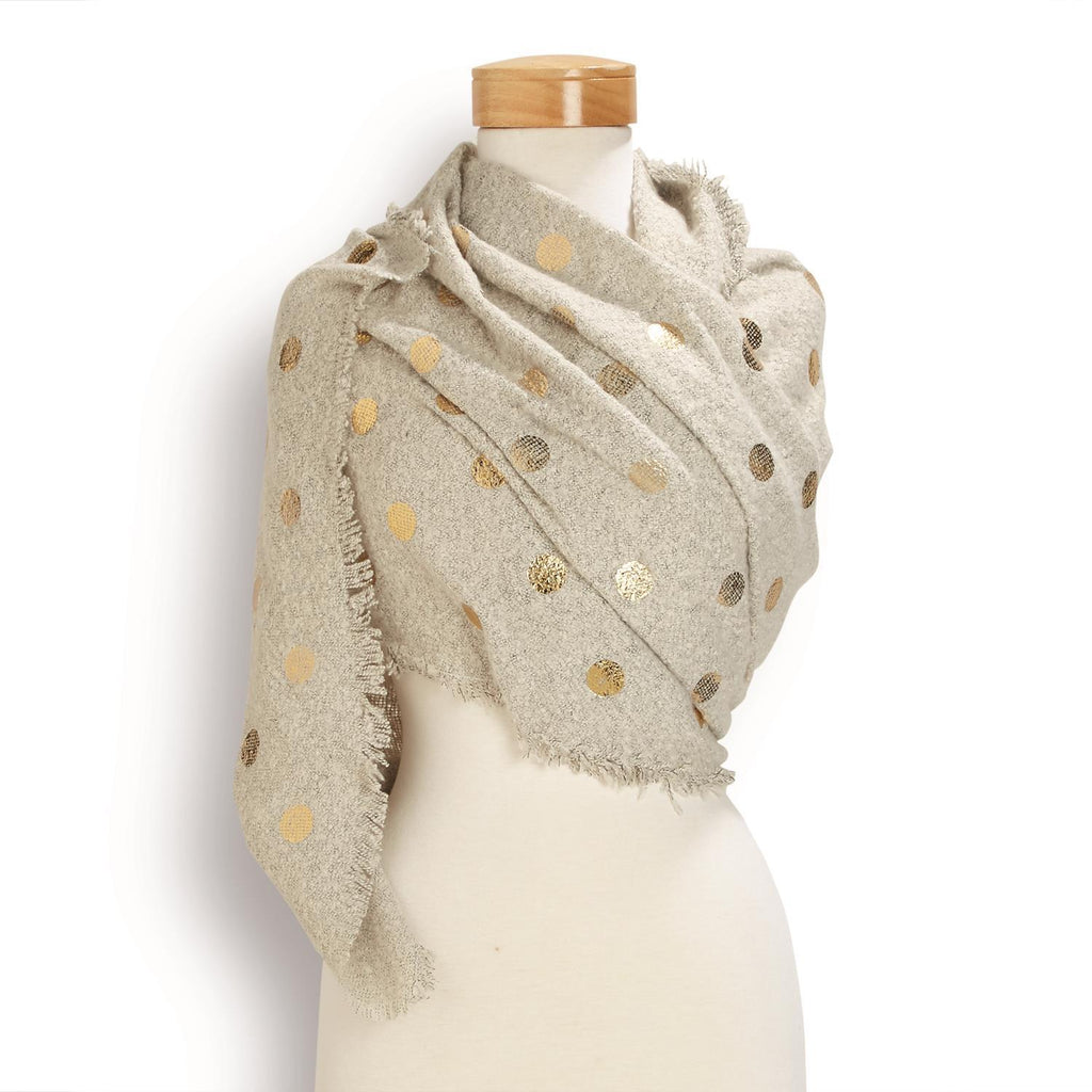 Metallic Gold Dot Scarf w/Fringe