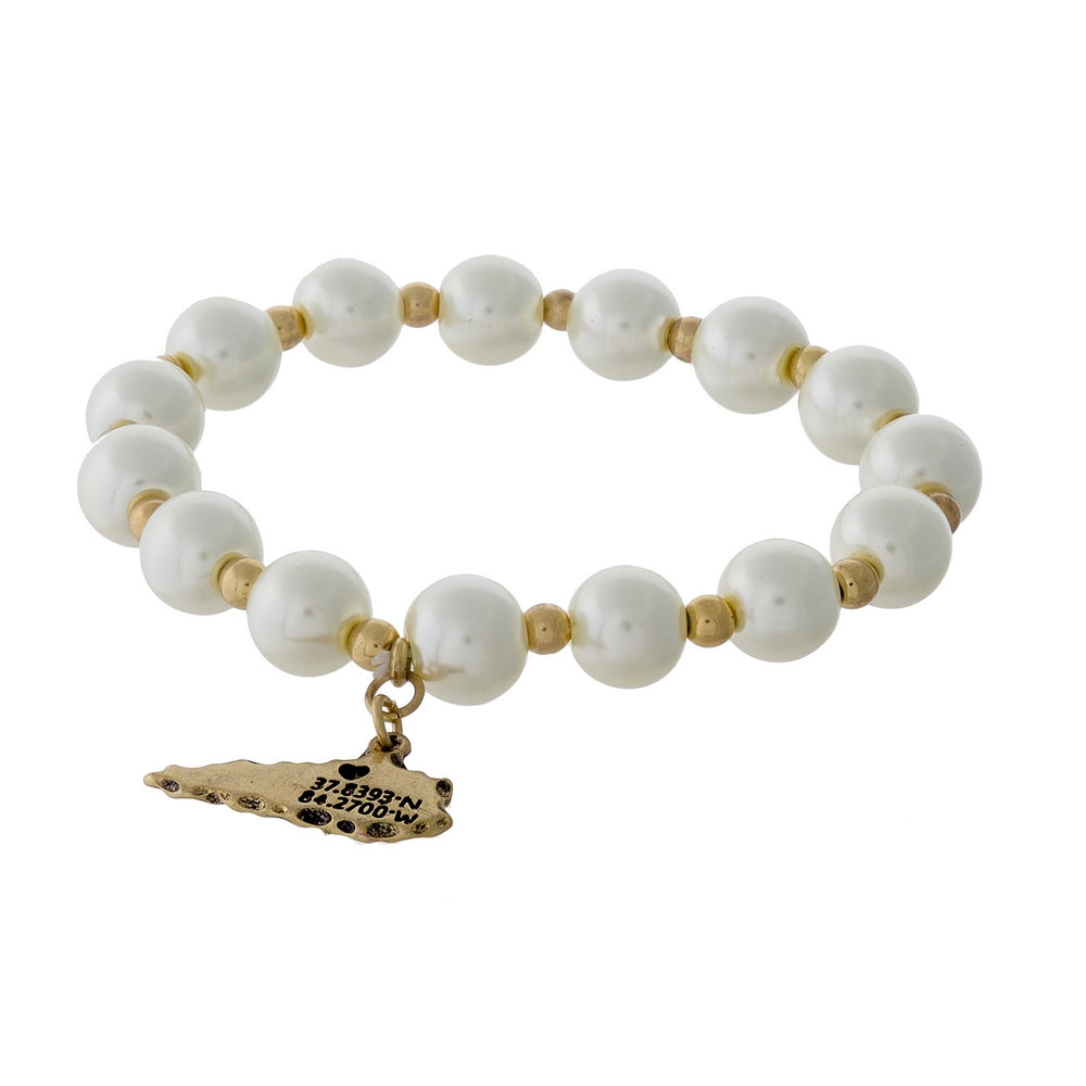 Gold & Pearl Beaded Stretch bracelet