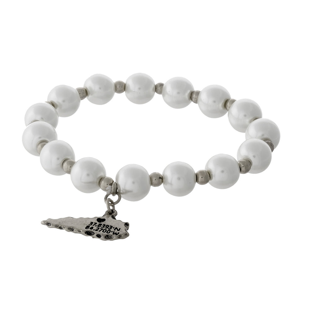 Silver & Pearl Beaded Stretch Bracelet