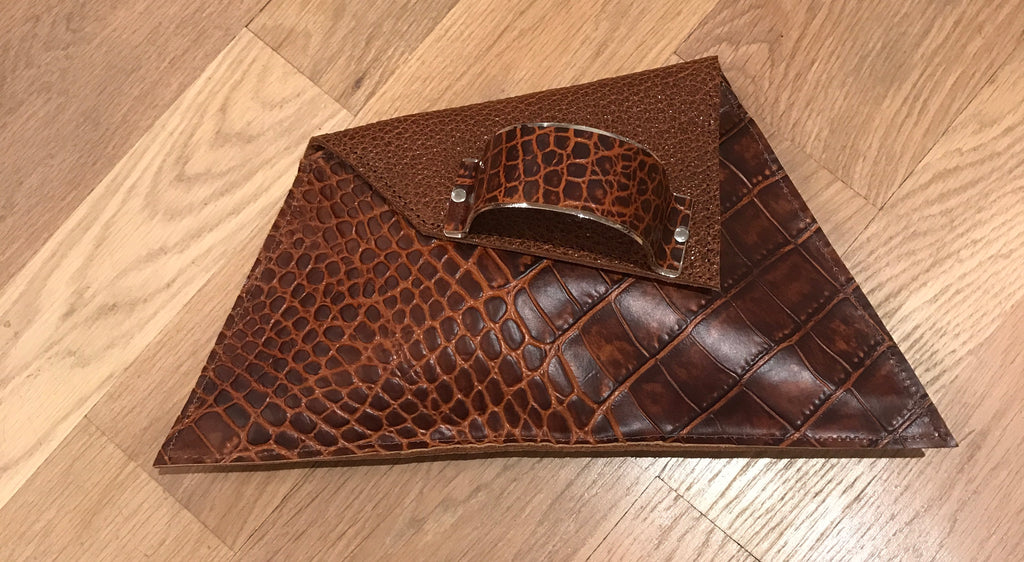 Genuine Leather Embossed Clutch -Brown