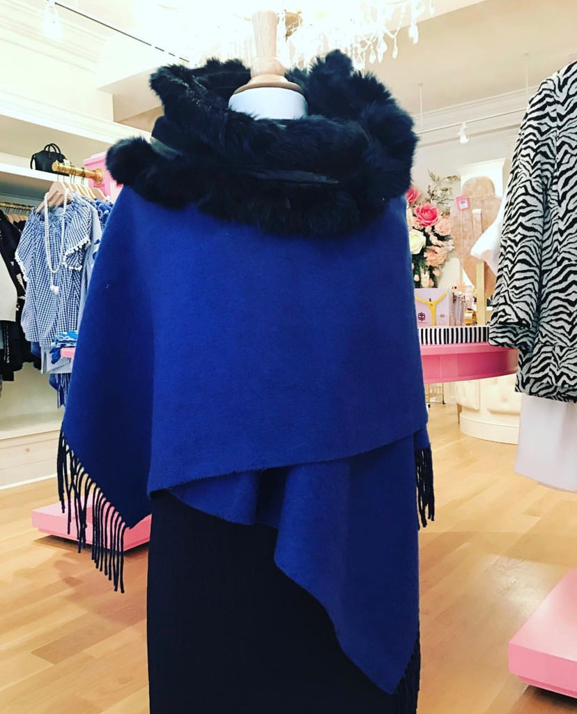 Royal Blue Reversible Cashmere Wrap Trimmed in Rabbit