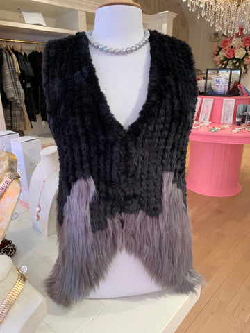 Black & Grey Faux Fur Vest