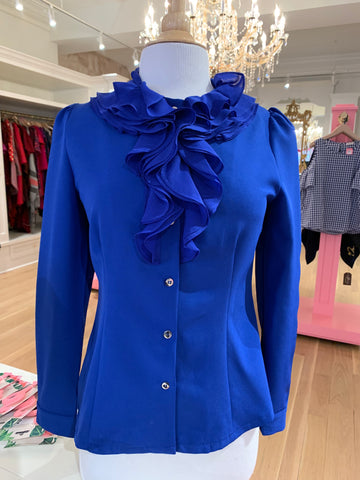Royal Blue Long Sleeve w/Ruffled Neckline