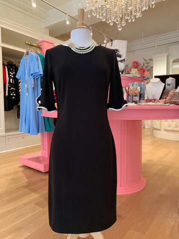 Black Dress w/Ruffled Sleeve & Pearl Detail