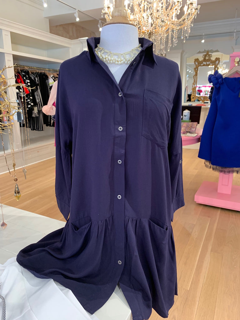 Navy Button Down Flare Tunic