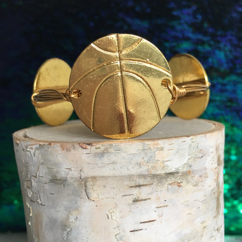 Basketball Brass Bangle Bracelet