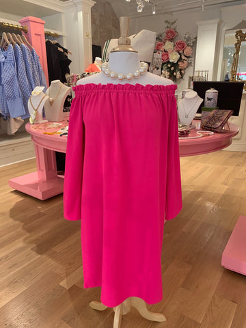 Hot Pink Off Shoulder Dress