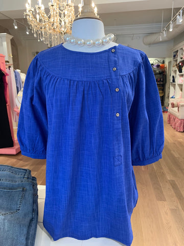 Royal Blue Button Blouse