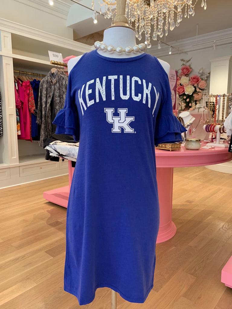 Kentucky Blue Cold Shoulder Dress