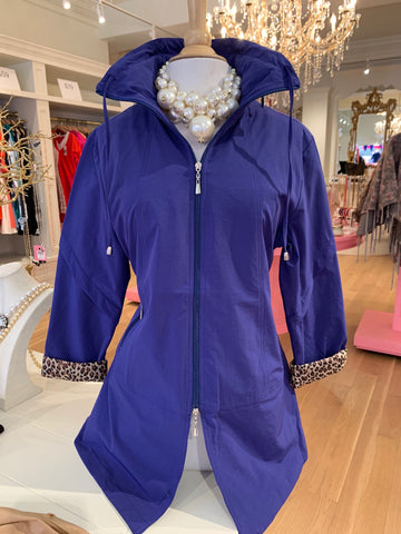 Royal Blue Rain Jacket w/Cheetah Cuff Sleeves