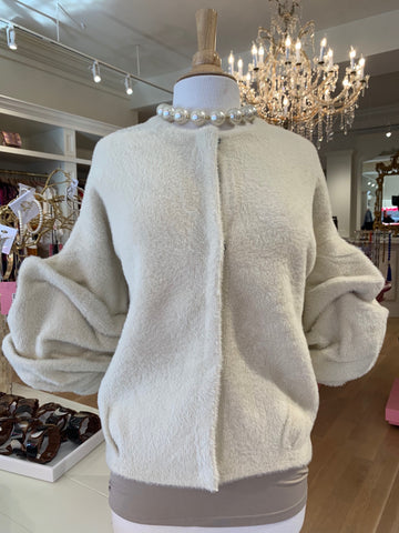 Cream Jacket w/Puff Sleeves