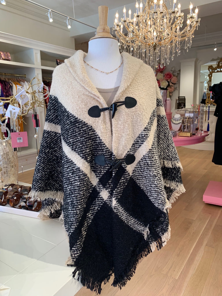 Cream & Black Poncho