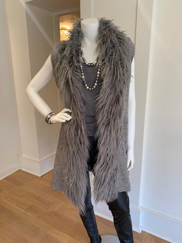 Grey Faux Fur Vest