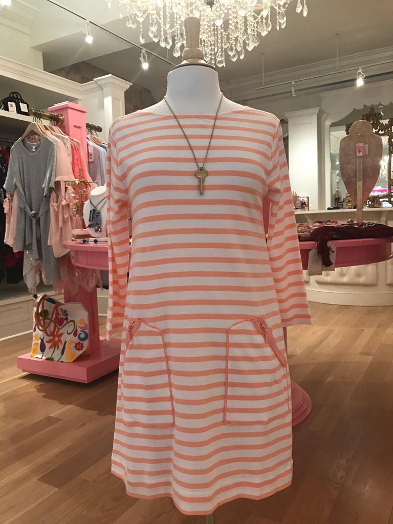 Coral Striped Dress w/Pockets