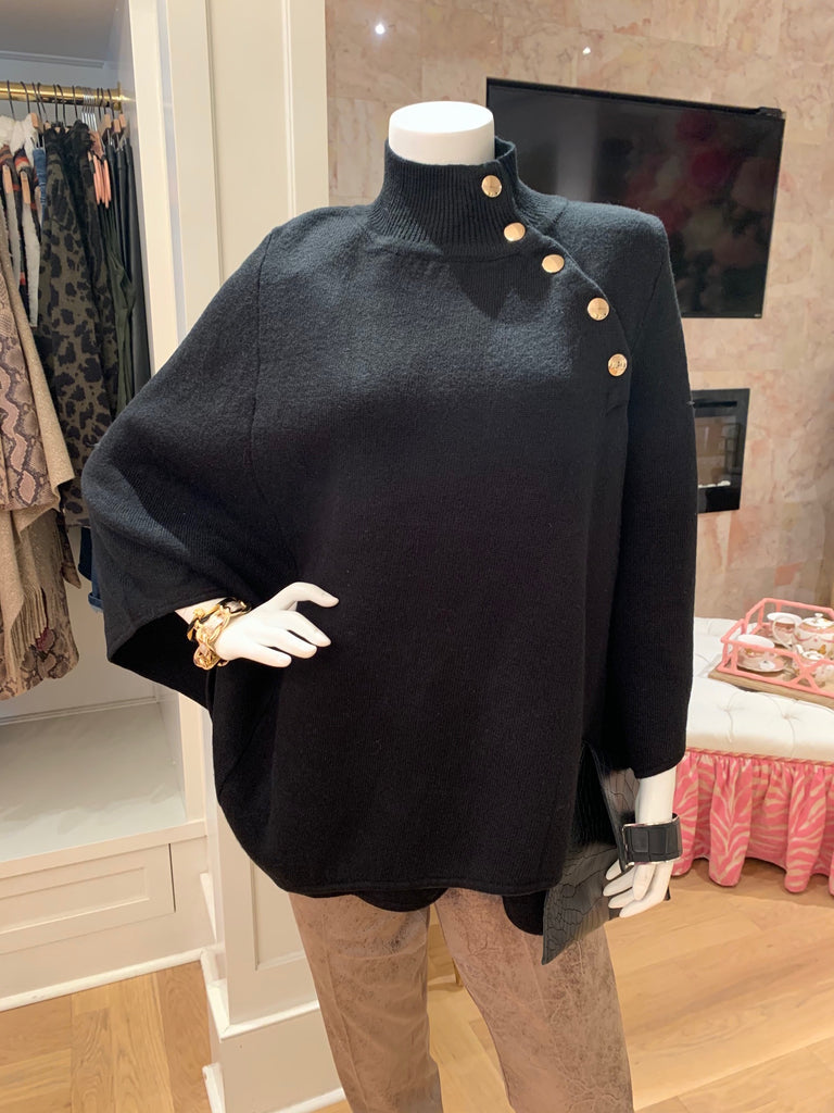 Black Poncho w/ Gold Buttons