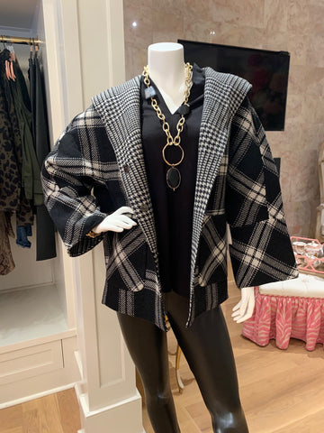 Black & White Reversible Plaid Jacket