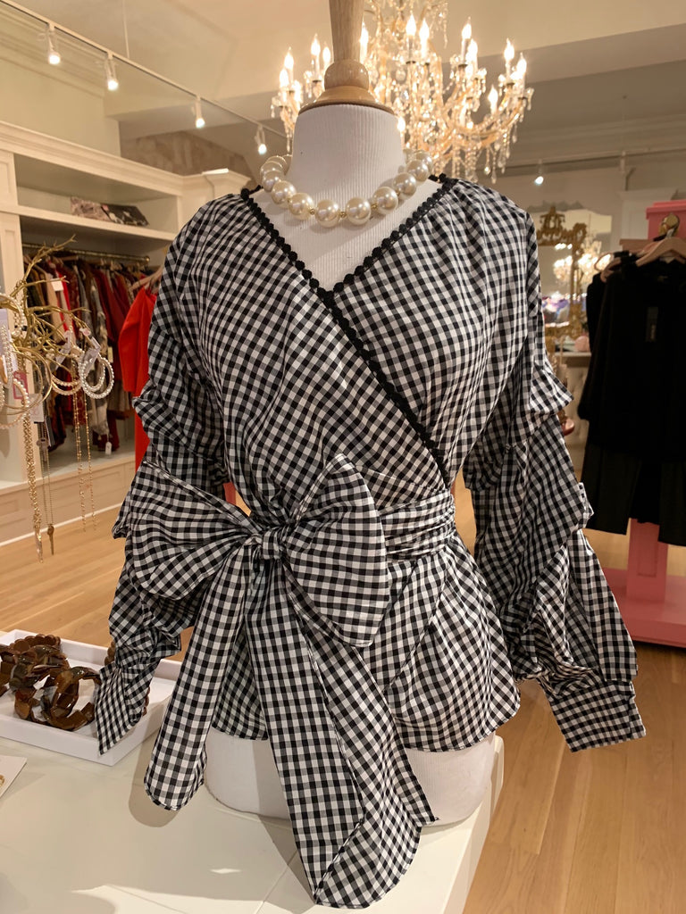 Black Gingham Wrapped Tie Waist Blouse