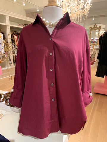 Burgundy Hi Low Button Down Blouse