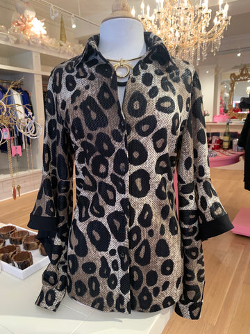 Animal Print Blouse w/Drape Sleeve