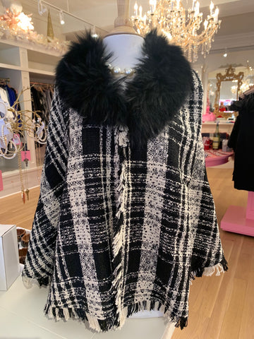 Black & Cream Tweed Poncho w/Fur Trim